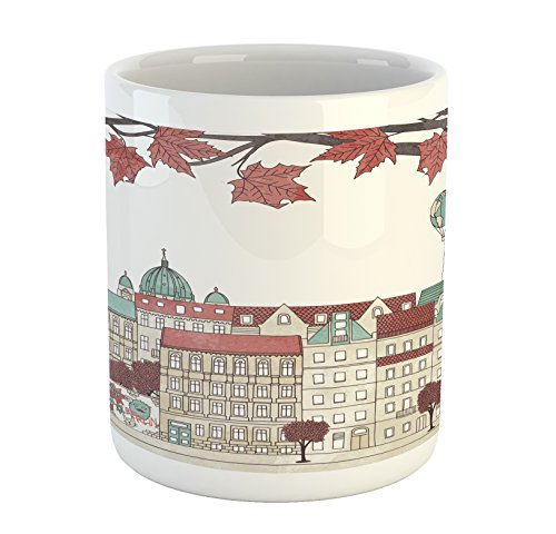 Ambesonne German Mug, Autumn in Berlin Colorful Hand Drawn Illustration of The Capital City of Germany, Printed Ceramic Coffee Mug Water Tea Drinks Cup, Multicolor