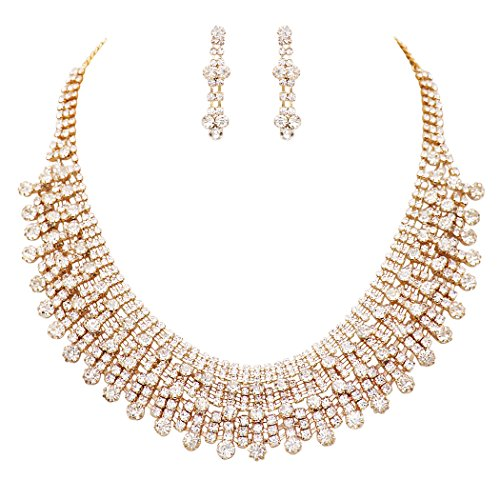 Rosemarie Collections Women's Cleopatra Style Rhinestone Statement Bib Necklace Earrings Set (Gold Tone/Clear)