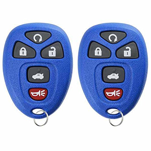 (KeylessOption Keyless Entry Remote Control Car Key Fob Replacement 15912860 -Blue (Pack of 2))