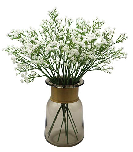 Anatural Artificial Flowers Baby Breath Real Touch Fake Gypsophila Flowers Steam Bouquet for Wedding Party Table Centerpieces Home Kitchen Office Windowsill Decorations 10pcs 15.7 Inches (White)