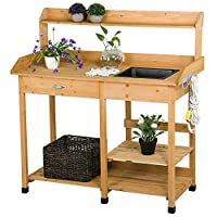 Topeakmart Outdoor Garden Potting Bench Potting Tabletop with Sink Drawer Rack Shelves Work Station
