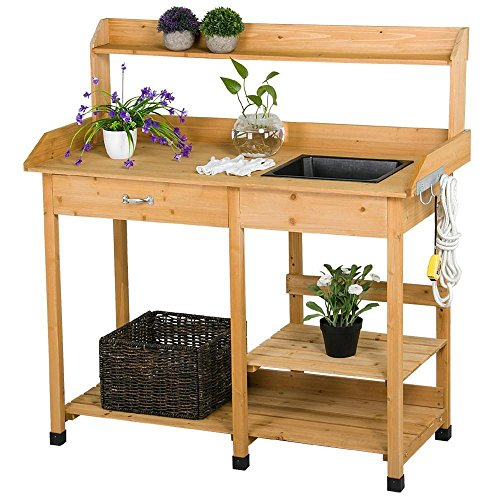 Topeakmart Outdoor Garden Potting Bench Potting Tabletop with Sink Drawer Rack Shelves Work Station -