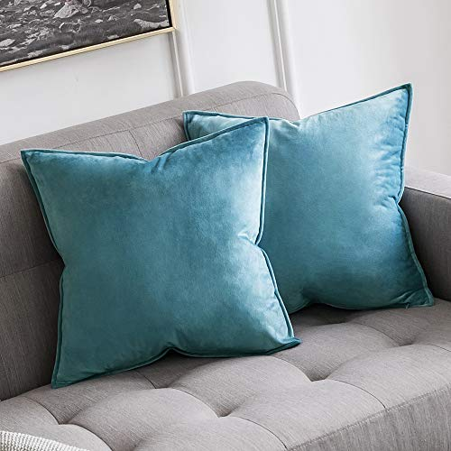 (MIULEE Pack of 2 Decorative Velvet Throw Pillow Cover Soft Blue Pillow Cover Soild Square Cushion Case for Sofa Bedroom Car 18x 18 Inch 45x 45cm)
