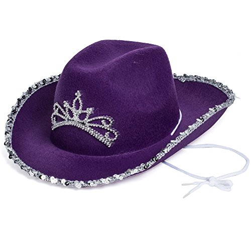 Purple Cowboy Hat - Princess Cowboy Hat - Cowgirl Hats - Cowgirl  Accessories by Funny Party Hats at Amazon Women s Clothing store   Decorative Hair Combs 0cc295be4cb8