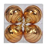 Vickerman M151416 Plastic Shiny Matte Mirror Ball with Matching Glitter in 4/Box, 4'', Antique Gold