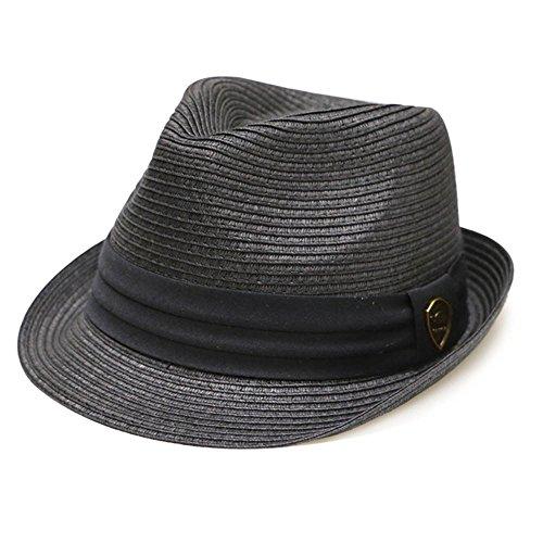 City Hunter pms490 Solid Paper Braid Trilby Straw Fedora Hats Black L/XL