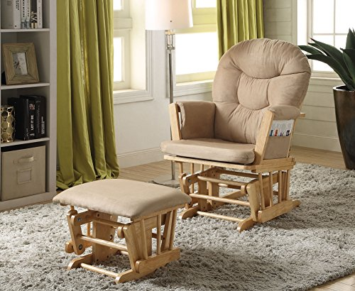 Read About Acme Furniture 59332 2 Piece Rehan Glider Chair & Ottoman, Taupe & Natural Oak