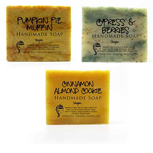 Handmade Soap Holiday Gift Set, Cinnamon Almond Cookie, Cypress & Berries, and Pumpkin Pie Muffin, Ready to Give Gift, Limited Edition, Vegan, Organic, 100% Natural