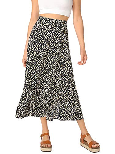 SheIn Women's Polka Dot A-Line Button Side Split Midi Knee Length Skirt Black