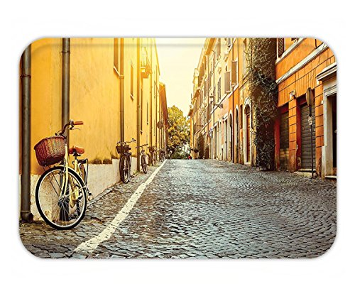 Minicoso Doormat Wanderlust Decor Collection Street In Rome Italy Bicycle Travel Honeymoon Destinations Sun Lights Sunny Rome Travel Bicycle