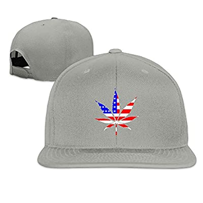 Jusxout American Flag Weed Snapback Unisex Adjustable Flat Bill Visor Dad Hat
