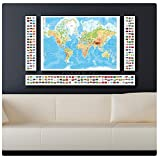 "Alonline Art - Physical Modern Flags World Map Synthetic CANVAS Not framed +GIFT 50""x31"" - 127x79cm 4 Panels split Prints Wall Art Paints Wall Decor Pictures Posters Painting Giclee Paintings"