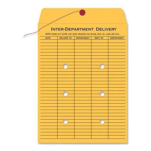 Quality Park 1-Side Print Inter-Department Envelopes, String-Tie, Brown Kraft, 9 x 12, 100 per Carton, (63462)