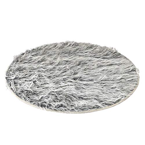 Time Concept Casual Rich Eco Fur Round Mat - Smoke Black - Polyester PVC Lining, Home Enhancement