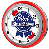 Pabst Blue Ribbon Red Double Neon Garage Clock From Redeye Laserworks