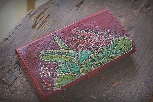 Red Lotus hand tooled wallet for women | Personalized Vintage vegetable tanned leather handmade wallet by Virgo Handmade Leather