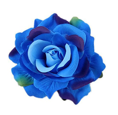 (DreamLily Rose Flower Hair Clip Flamenco Dancer Pin up Flower Brooch BC10 (z-Blue))