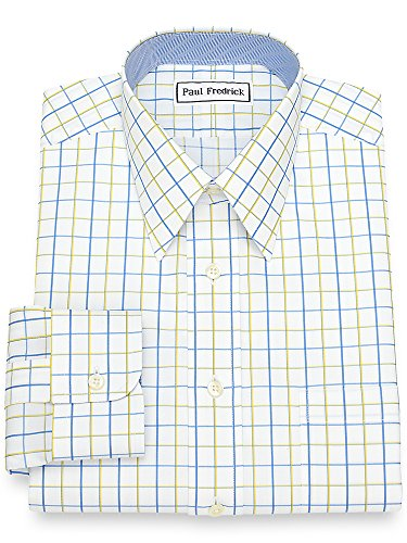 Fredrick Iron Paul Non (Paul Fredrick Men's Non-Iron Cotton Satin Grid Dress Shirt French Blue/Yellow 17.5/34)