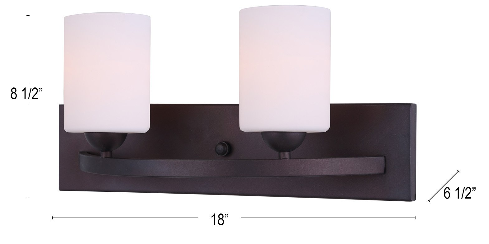 Canarm IVL370A02ORB-O Ltd Hampton 2 Light Vanity, Oil Rubbed Bronze with Flat Opal Glass
