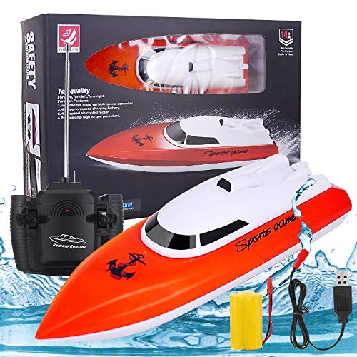 2020 Upgraded Remote Control Boat, High Speed 2.4GHz Remote Boat 180 Degree Auto Flip Recovery,Electric RC Boat Toys for…
