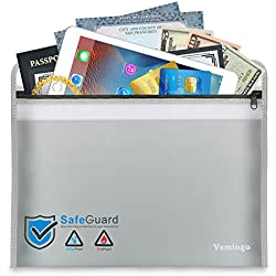 """Fireproof Document Bag 15.8"""" x 11.1"""" — Vemingo Anti-irritation Silicone Coated Fire Water Resistant Money Bag Fireproof Safe Pouch Holder Storage for Money, Documents, Jewelry and Passport …"""
