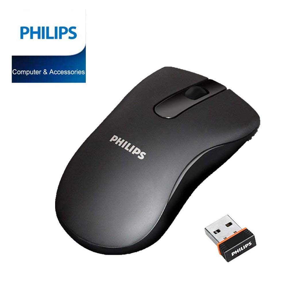 PHILIPS Wireless Mouse, 2.4G Portable Optical Mice Silent Click Noiseless laptop Mice with Nano Receiver 1000 DPI for PC Laptop Notebook Mac - Black