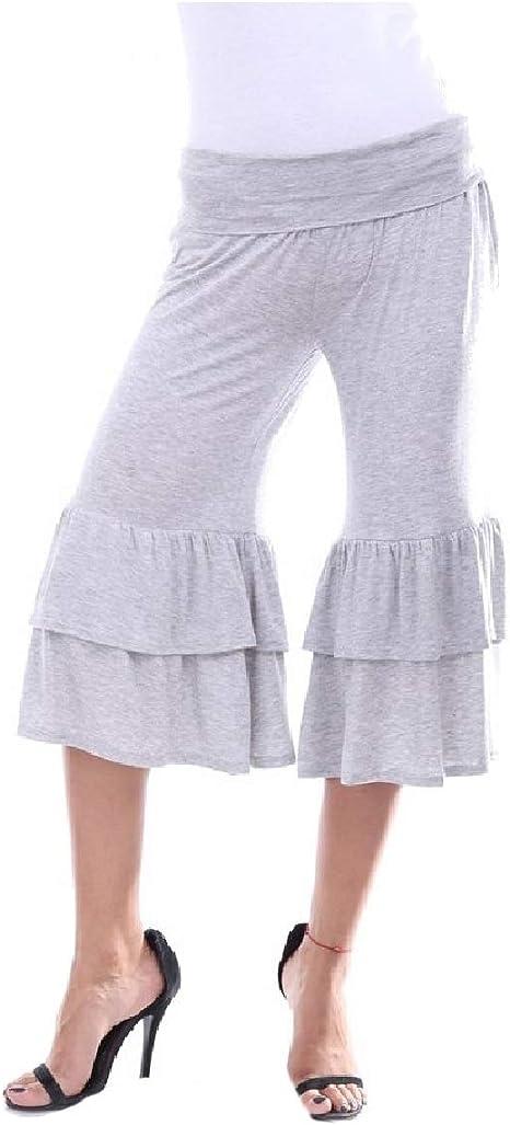 Nicellyer Women Ruffle Fold Over 3/4 Casual Side Shirring Wide Leg Pants