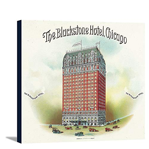 The Blackstone Hotel (Chicago) Brand Cigar Box Label (18x12 Gallery Wrapped Stretched Canvas)