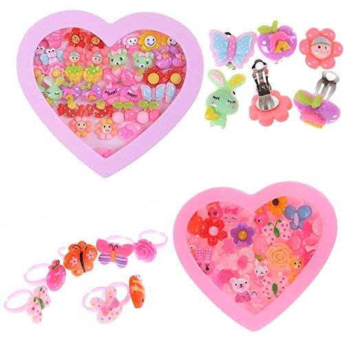 BraveWind 20 Pairs Clip-on Earrings and 24 Pcs Colorful Kid's Finger Rings...