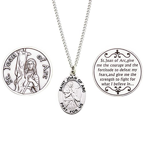 (Rosemarie Collections Saint Pendant Necklace and 2 Religious Pocket Tokens (St Joan of)