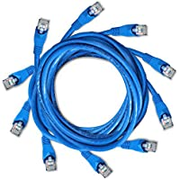 DynaCable Cat6 Ethernet Cable - 5 Foot / 5 Pack - Blue- High Speed Internet LAN Cable with Snagless RJ45 Connectors For Fast Computer Networking with Professional Grade Copper