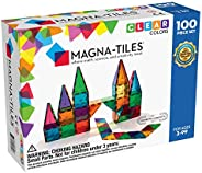 Magna-Tiles 100-Piece Clear Colors Set, The Original Magnetic Building Tiles For Creative Open-Ended Play, Edu
