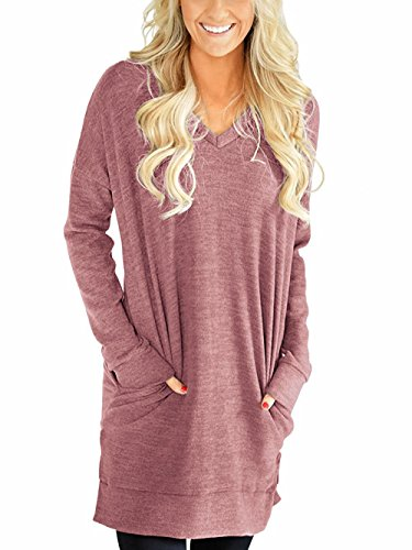 Roshop Womens Casual V-Neck Long Sleeves Pocket Solid Color Sweatshirt Tunics Blouse Tops (Watermelon Red, XL) - Loose Cotton Blends