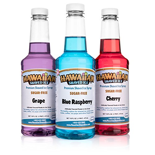 Hawaiian Shaved Ice Brand Sugar-Free 3 Flavor Fun Snow Co...