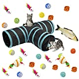 MEWTOGO Collapsible 3 Way Cat Tunnel Toys with Ball- 26 pcs Cat Toys Set Including 24 pcs Colorful Balls, Ring Paper, Fish and Little Mouse for Kitten and Puppy