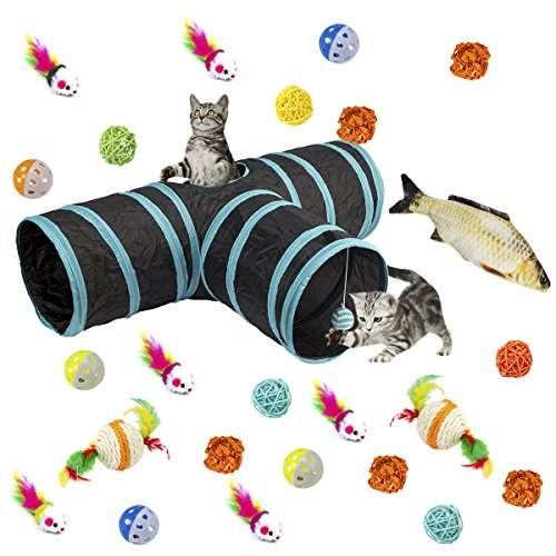 MEWTOGO Collapsible 3 Way Cat Tunnel Toys with Ball- 26 pcs Cat Toys Set Including 24 pcs Colorful Balls, Ring Paper, Fish and Little Mouse for Kitten and (Batting Tunnel Frame)