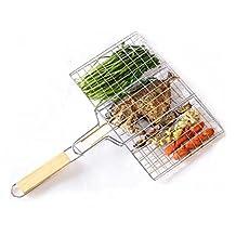 BBQ WINJ BBQ Basket Folding for Roast BBQ Portable Grilling Basket with Wood Handle for Fish ,Vegetables , Steak ,Shrimp,Chicken Wings.
