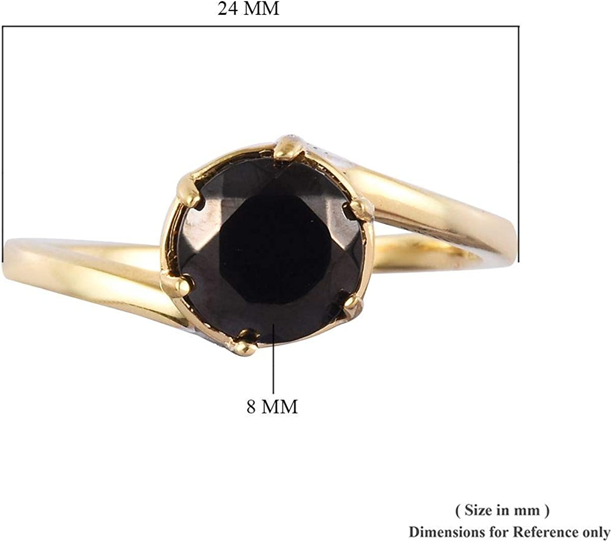 925 Sterling Silver Vermeil Yellow Gold Plated Round Healing Pain Relief Black Shungite Blue Sapphire Solitaire Ring Wedding Anniversary Jewelry for Women Ct 1