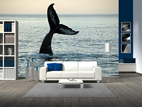 wall26 - Fin of a Humpback Whale - Removable Wall Mural | Self-adhesive Large Wallpaper - 100x144 inches (Whale Mural)