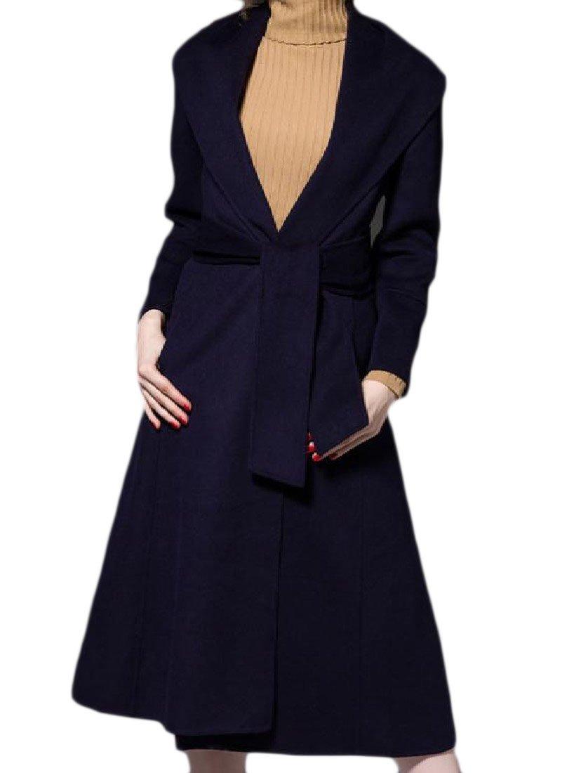 Zimaes-Women Fashion Fit Woolen Premium Big Lapel Trench Coat Topcoat Dark Blue L
