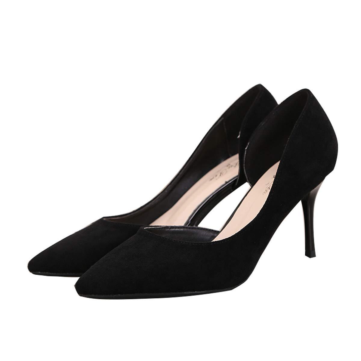HBDLH Damenschuhe/Seite Platz 8 cm High Heels Weiblich Winter 100 Sätze Flachen Mund Einzelne Schuhe Haben Dünne Heels 38 Schwarz