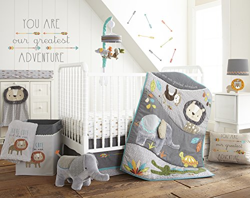 Levtex Baby Zambezi 5 Piece Crib Bedding Set, Quilt, 100% Cotton Crib Fitted Sheet, 3-tiered Dust Ruffle, Diaper Stacker and Large Wall Decals