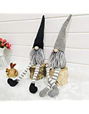 Uheng 2PCS Handmade Swedish Santa Tomte Gnome, Plush Figurines Toy Christmas Tree Hanging Decorations, Winter Table Holiday Ornament - Thanksgiving Day Gift - 18 Inches