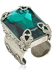 Sorrelli Large Cut Crystal Adjustable Ring, Size 7-9
