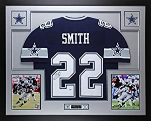 Emmitt Smith Autographed Blue Cowboys Jersey - Beautifully Matted and Framed - Hand Signed By Emmitt Smith and Certified Authentic by Auto PSA COA - Includes Certificate of Authenticity