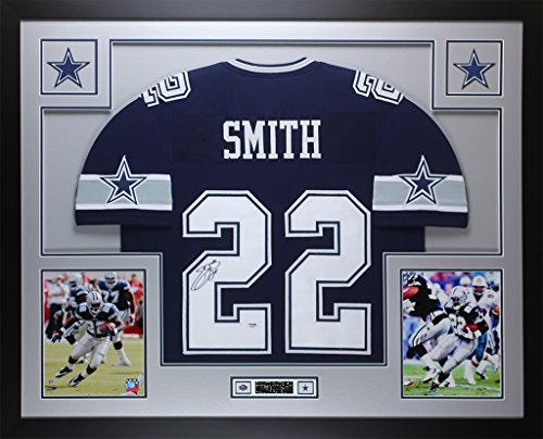 Emmitt Smith Autographed Blue Cowboys Jersey - Beautifully Matted and Framed - Hand Signed By Emmitt Smith and Certified Authentic by Auto PSA COA - Includes Certificate of (Emmitt Smith Hand Signed)