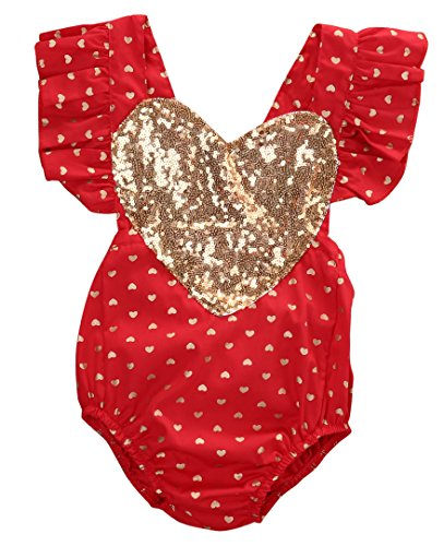 Emmababy Baby Girl Gold Heart Print Bodysuit Romper Jumpsuit Outfits Playsuit Clothes (12-18months, - Romper Heart