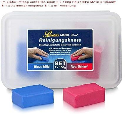 2x 100 Gramm Petzoldt S Profi Reinigungsknete Magic Clean Blau Und Rot Auto