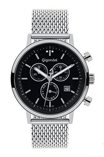 Gigandet Men's/Women's Quartz Watch Classico Chronograph Analog Stainless Steel Silver Black G6-012