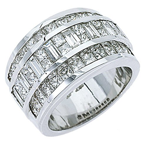 18k White Gold Mens Invisible Set Princess & Baguette Diamond Ring 3.38 Carats